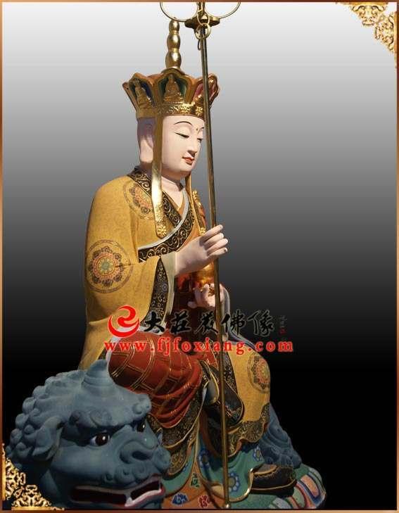 彩绘铜像地藏王菩萨侧面塑像