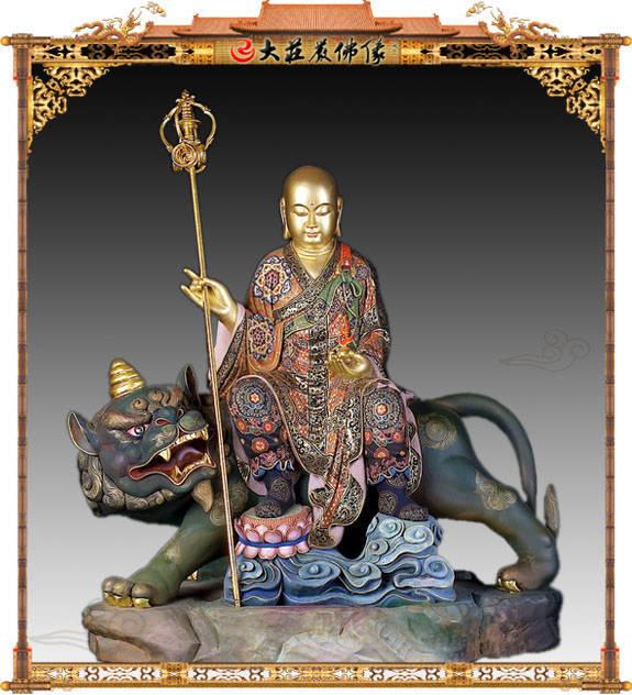 地藏王菩萨整体正面彩绘铜像