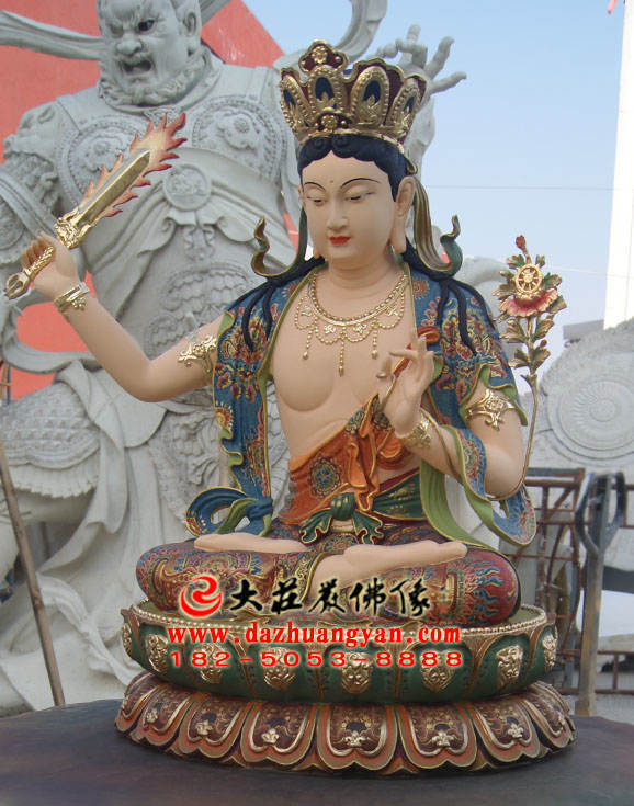 彩绘铜像文殊菩萨侧面整体实拍图