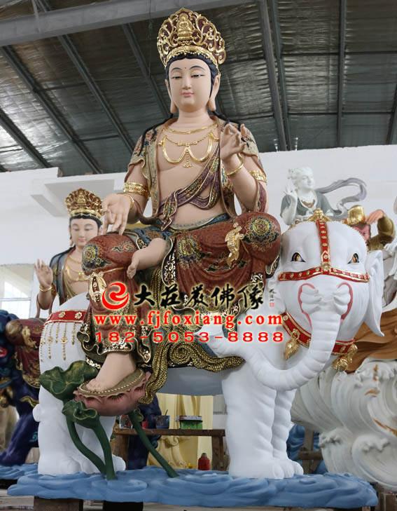彩绘铜像普贤菩萨整体侧面塑像
