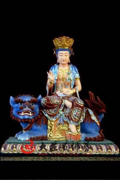 文殊菩萨彩绘铜像