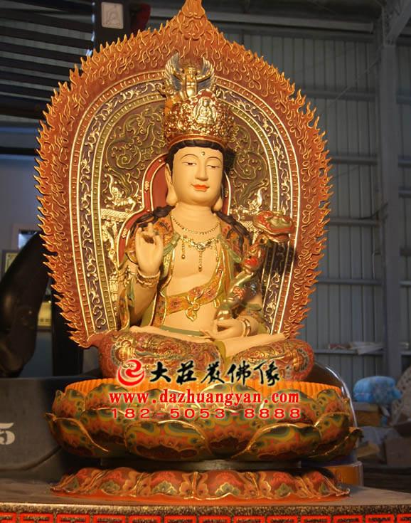 铜像彩绘文殊菩萨侧面佛像