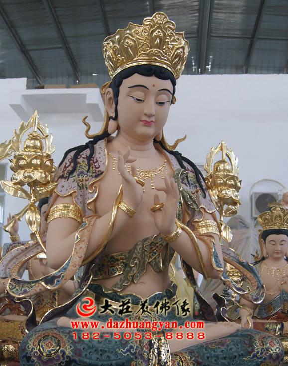 铜像无垢文殊菩萨侧面彩绘塑像