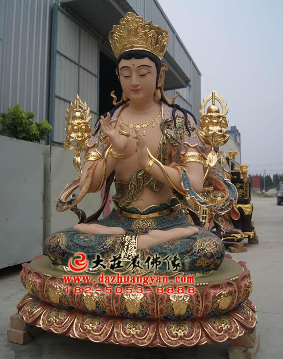 铜像无垢文殊菩萨侧面整体彩绘塑像