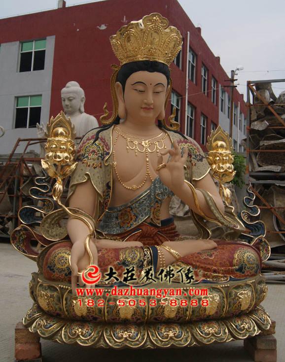 铜像彩绘智慧文殊菩萨侧面塑像