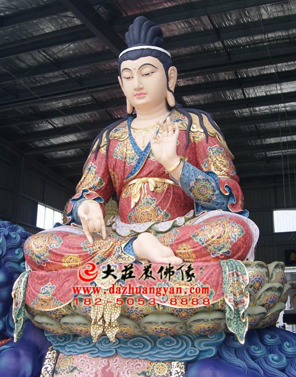 铜像彩绘文殊菩萨侧面塑像