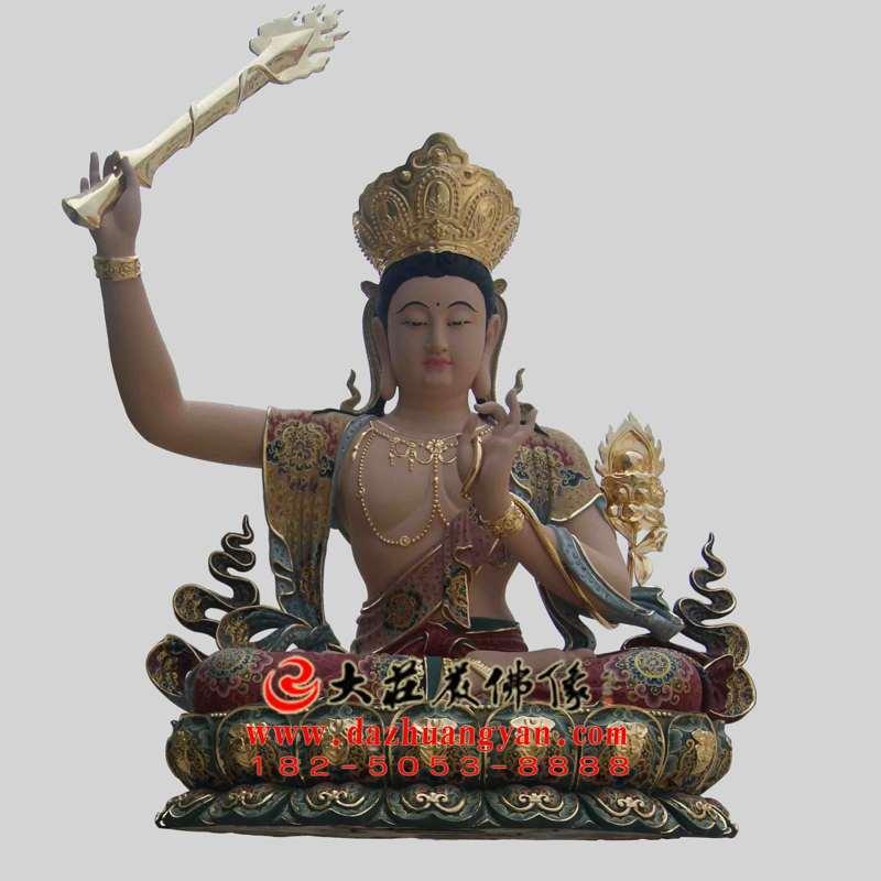 铜雕孺童文殊菩萨彩绘佛像