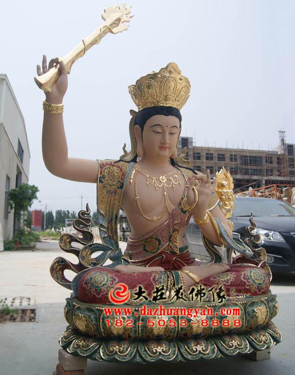 铜像孺童文殊菩萨整体侧面彩绘佛像