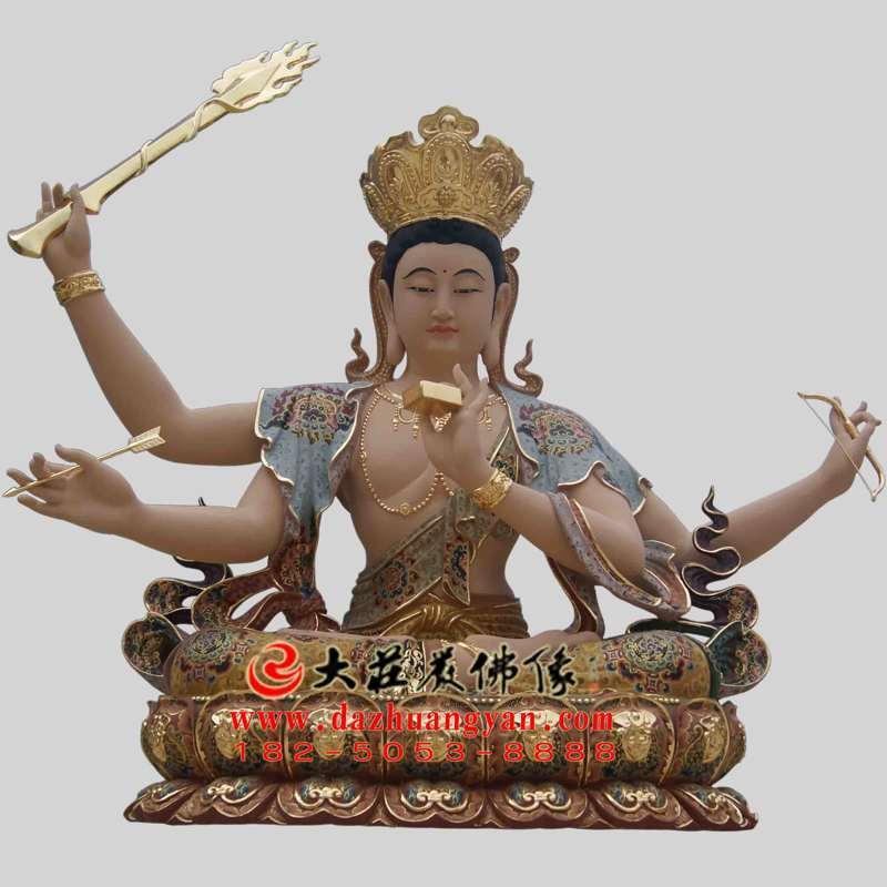 铜雕彩绘聪明文殊菩萨塑像