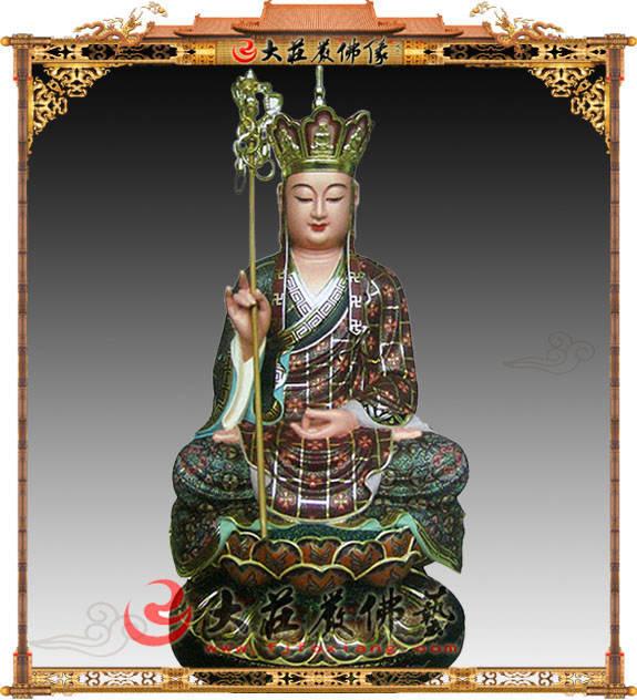 铜雕坐山水地地藏王菩萨