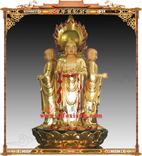 铜雕四面地藏王菩萨贴金佛像