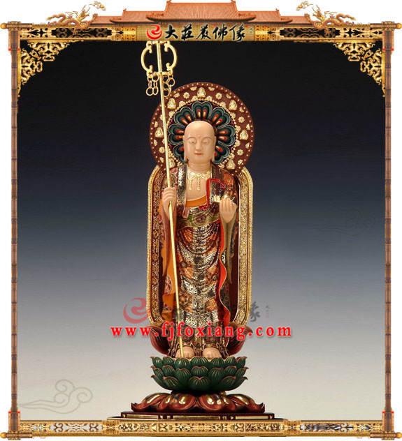 铜雕地藏菩萨立姿彩绘佛像