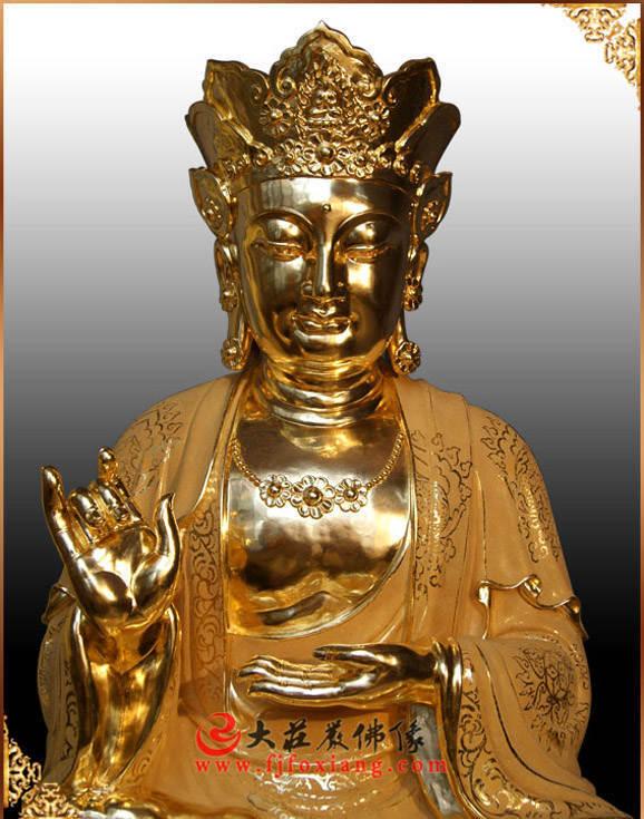 铜像地藏王菩萨贴金佛像正面近照