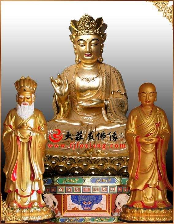 铜像地藏王菩萨整体正面贴金佛像