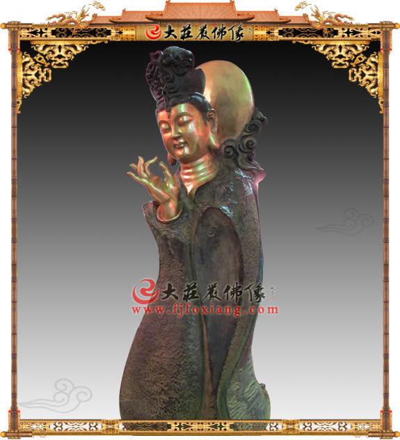 铜雕拈指观音塑像