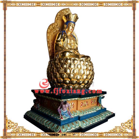 铜像贴金观音菩萨坐像整体侧面实拍