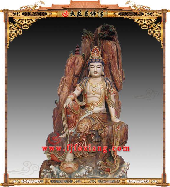 铜雕彩绘自在观音