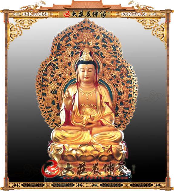 铜像观音菩萨彩绘贴金佛像