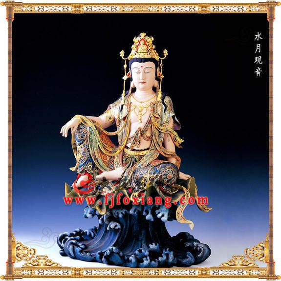 铜雕水月观音彩绘塑像