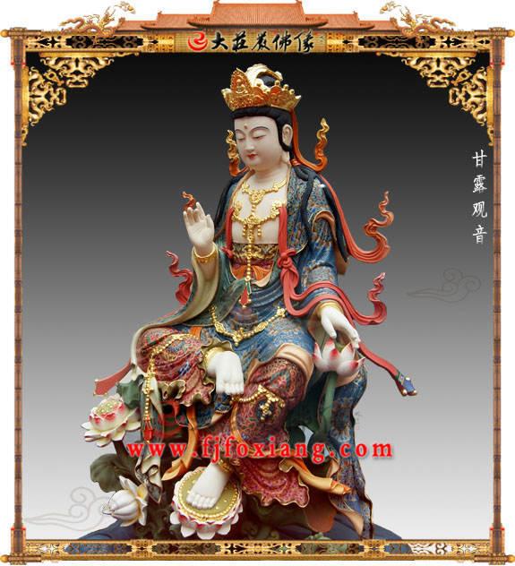 铜雕甘露观音彩绘描金塑像