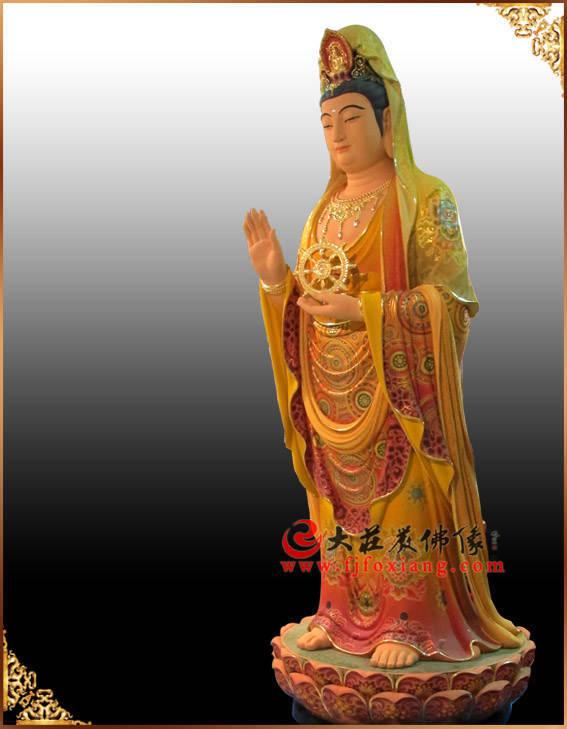 铜雕持法轮观音菩萨