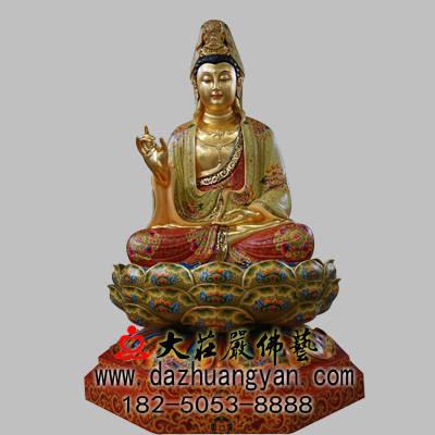 铜雕观音菩萨彩绘贴金佛像
