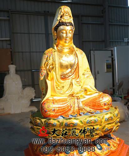 铜雕观音菩萨彩绘贴金侧面佛像