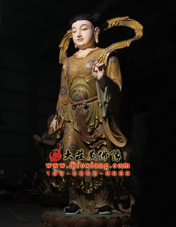 彩绘描金龙女侧面塑像