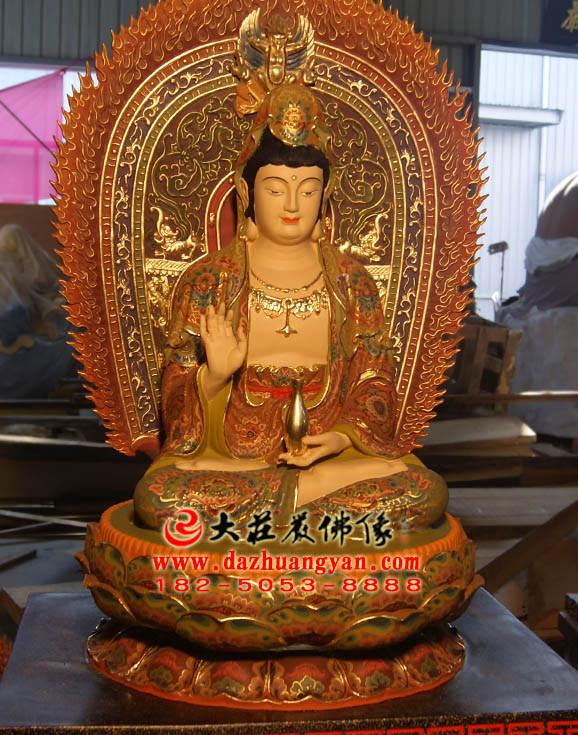 铜雕观音菩萨侧面彩绘塑像