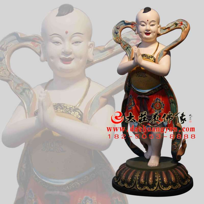 铜雕善财童子龙女彩绘佛像