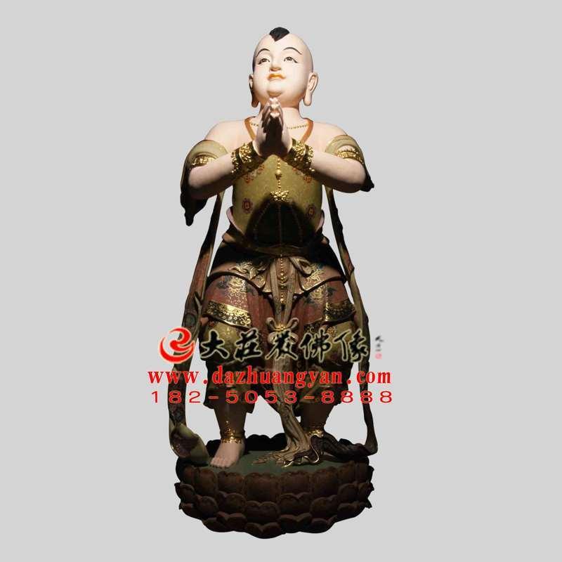 铜雕善财童子彩绘塑像