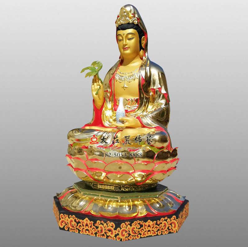 铜像彩绘贴金观音菩萨侧面佛像