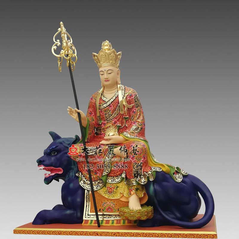 铜像地藏菩萨彩绘描金侧面塑像