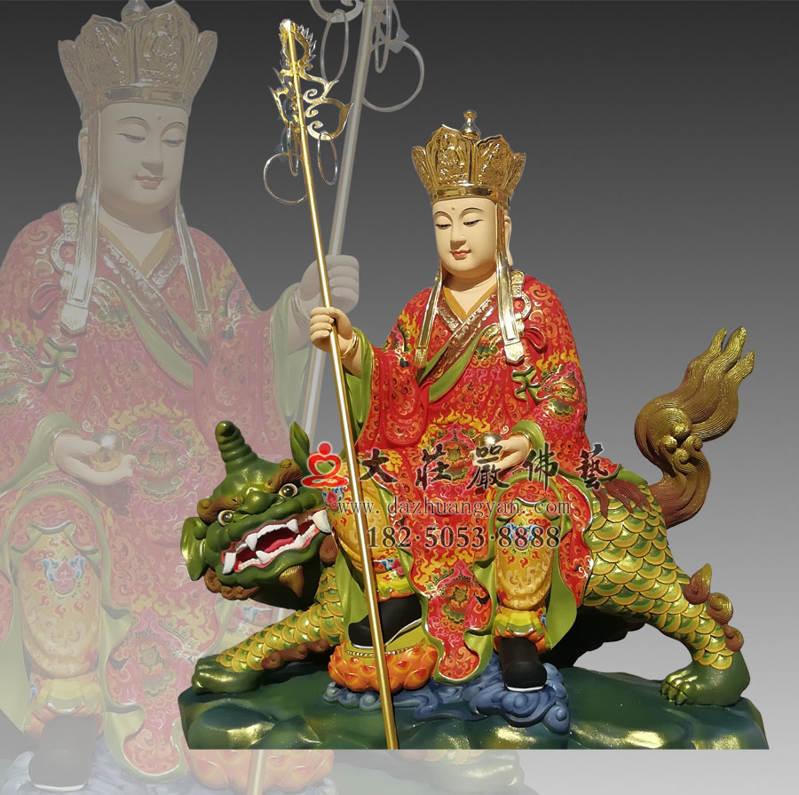 铜雕彩绘描金地藏菩萨侧面塑像