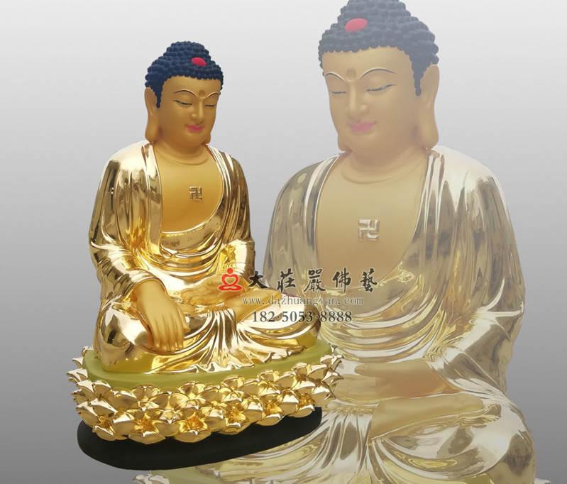 铜像五方佛之东方阿閦佛侧面贴金佛像