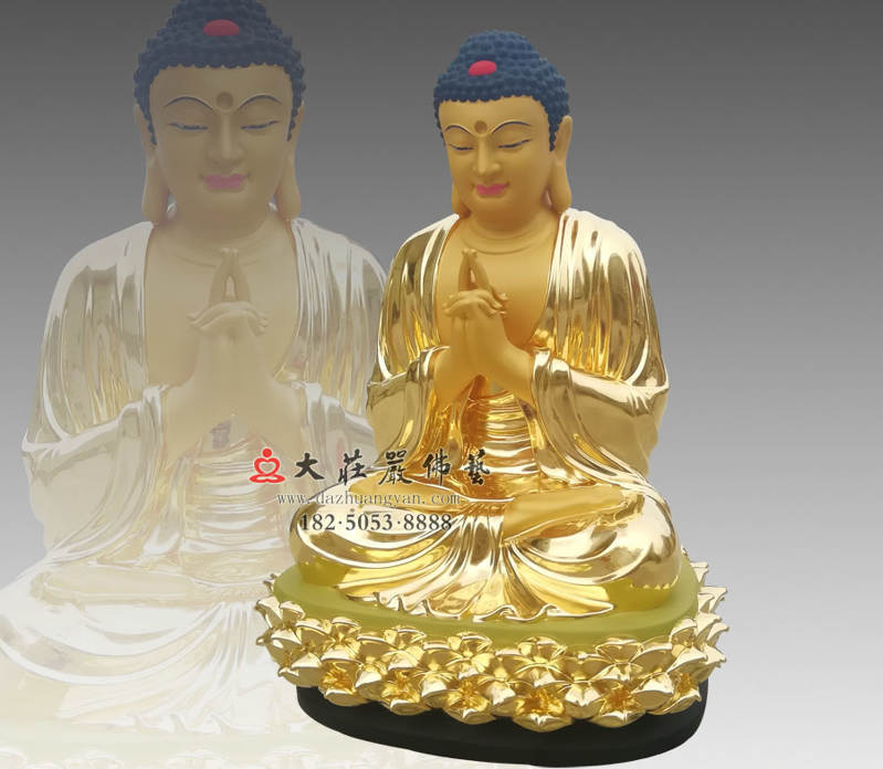 铜雕五方佛之中方毗卢遮那佛侧面贴金佛像
