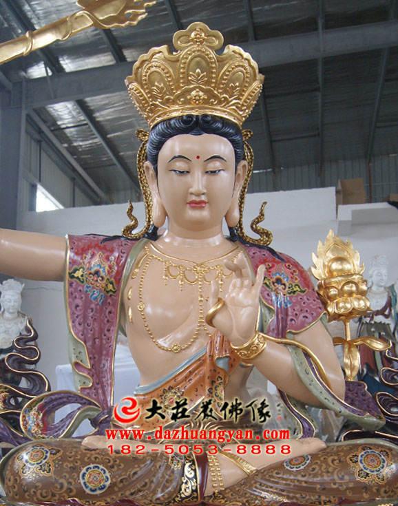 铜像四大菩萨之文殊菩萨佛像正面近照