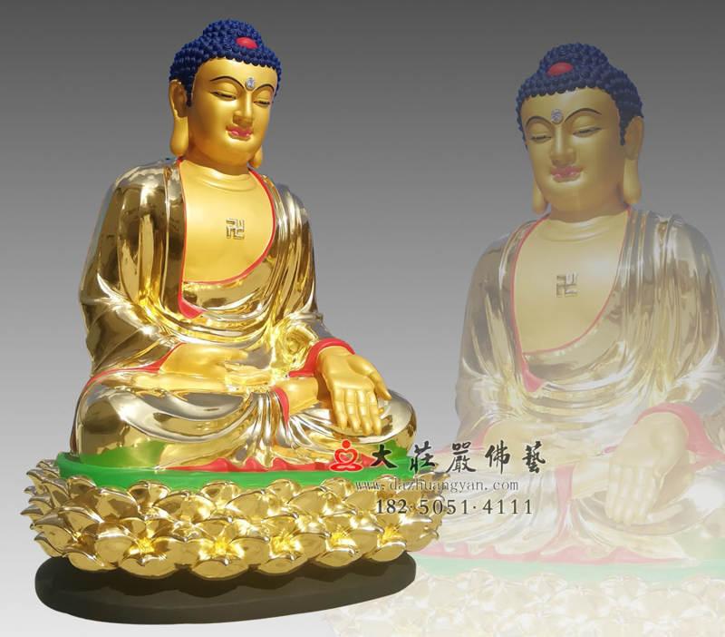 铜雕五方佛之贴金东方阿閦佛侧面佛像