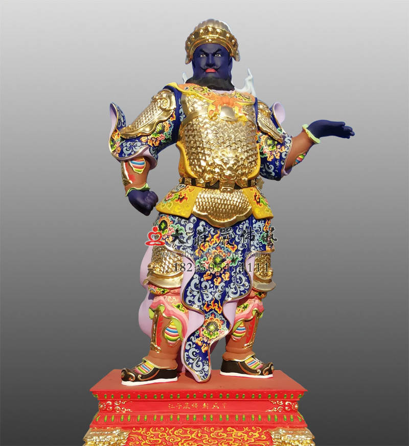铜雕甲戌神将展子江彩绘像