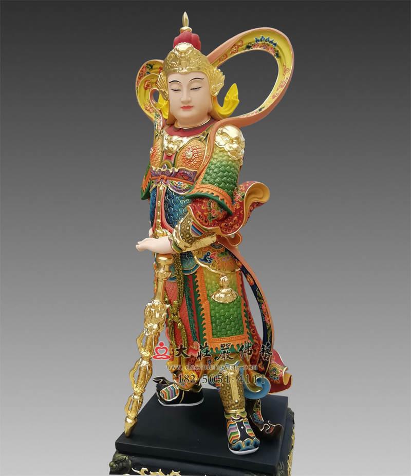 铜雕韦陀菩萨彩绘塑像