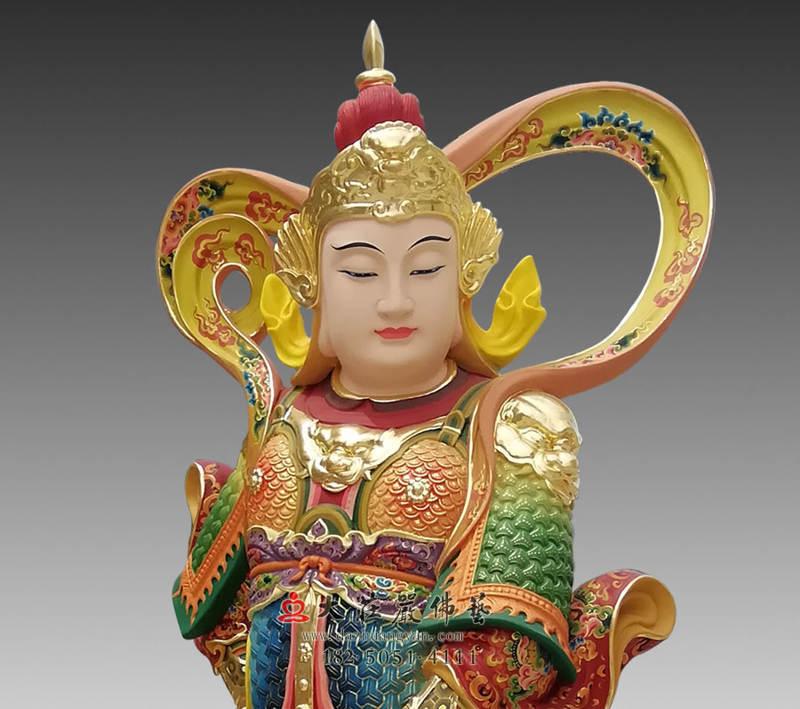 铜雕韦陀菩萨正面近照
