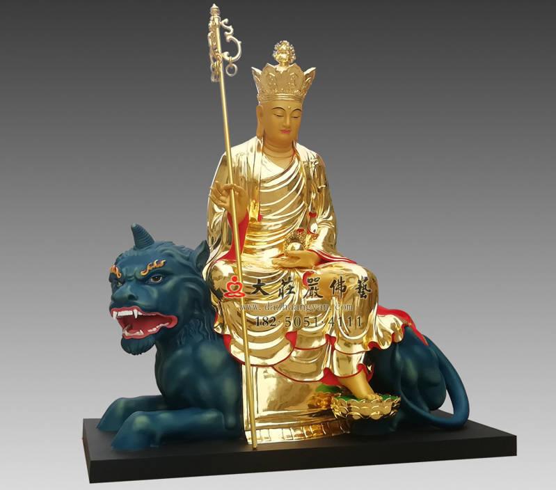 铜雕地藏菩萨侧面彩绘像