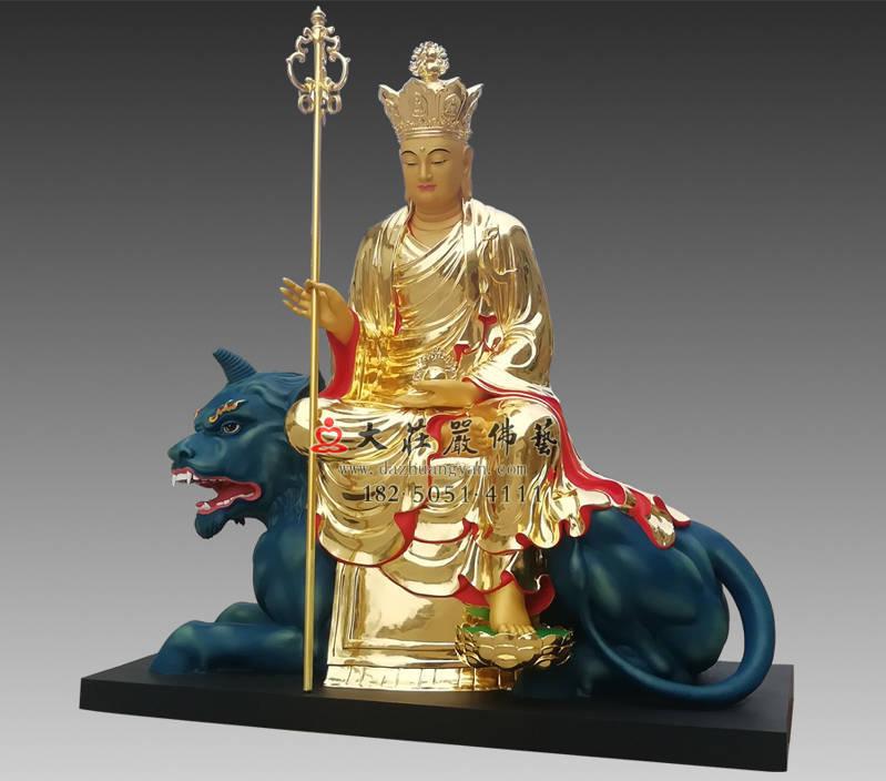 铜雕地藏菩萨侧面贴金像