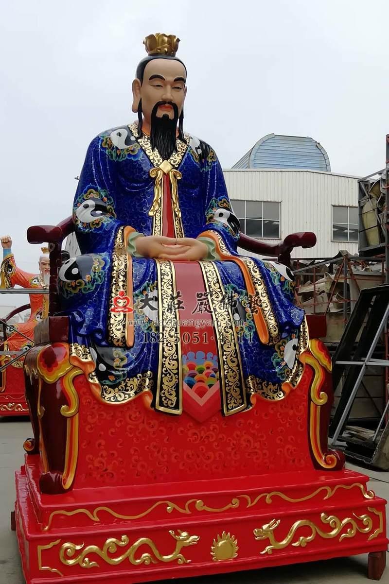铜雕三清之元始天尊侧面彩绘神像
