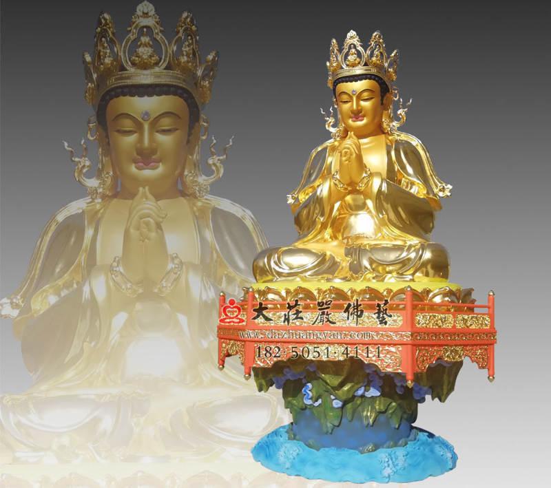铜雕五方佛之贴金侧面毗卢遮那佛