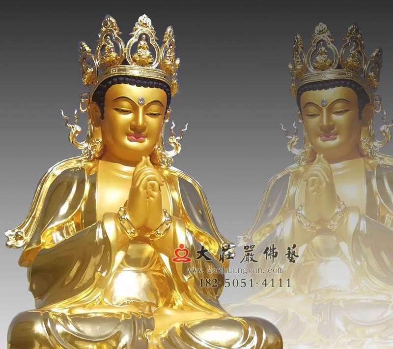 铜雕五方佛之贴金毗卢遮那佛侧面近照