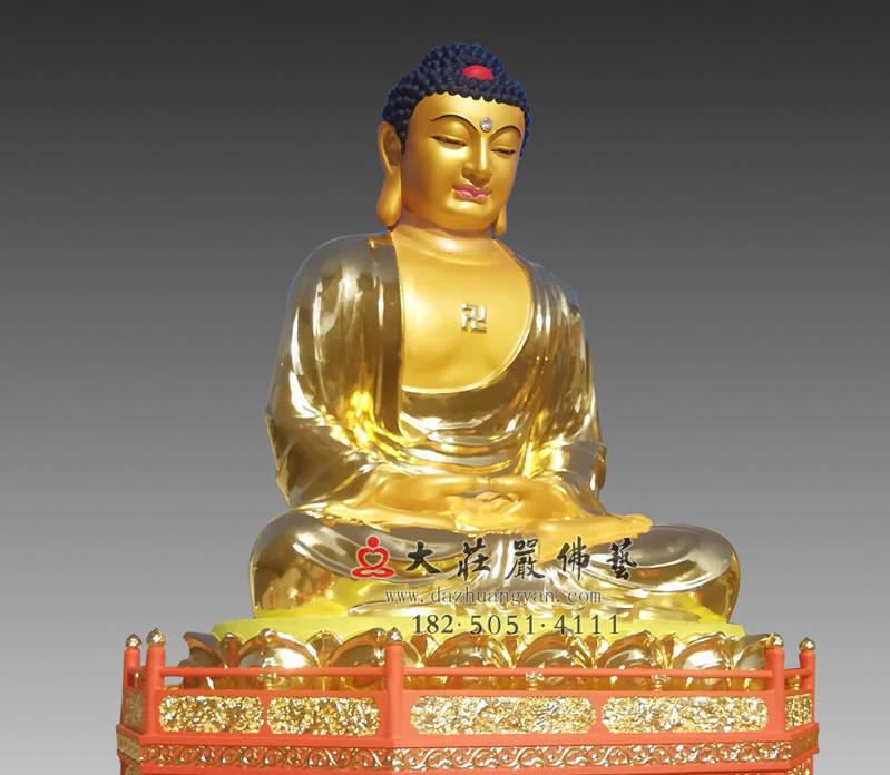 铜雕五方佛之贴金阿弥陀佛侧面近照