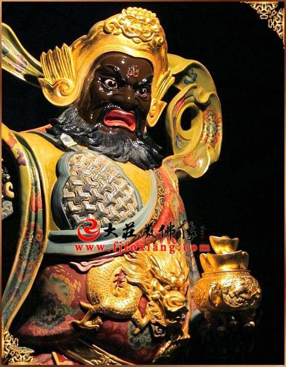 铜像彩绘赵公明武财神站像