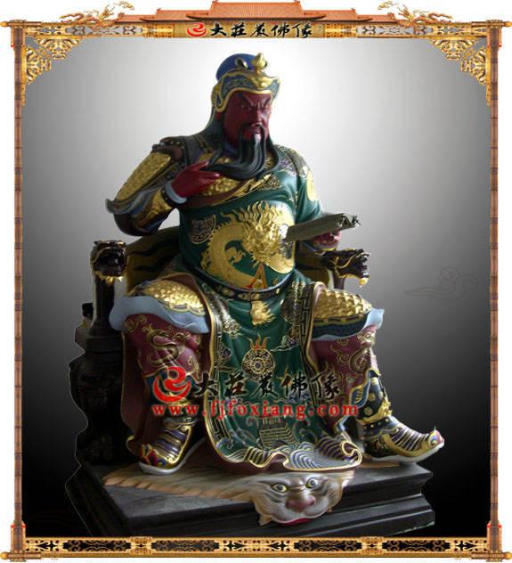 铜雕彩绘关公阅书伽蓝菩萨