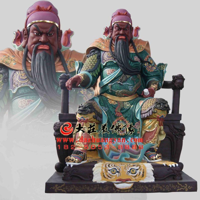 铜雕武圣关公彩绘塑像